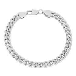 7mm Diamond-Cut Rhodium Plated Flat Beveled Curb Curb Chain Link Bracelet