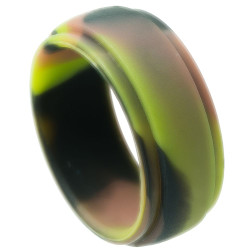9mm Wide Silicone Green Band Ring