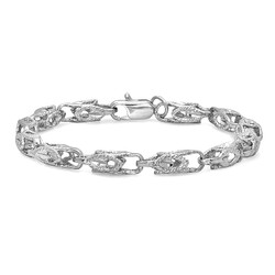 6mm Textured 0.25 mils (6 microns) Rhodium Plated Hollow Chain Link Bracelet