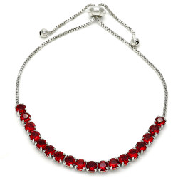 4mm Polished Rhodium Plated Red Cubic Zirconia Bolo Bracelet, 10 inches