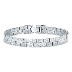 7.5mm Textured 0.25 mils (6 microns) Rhodium Plated Flat Nugget Link Bracelet