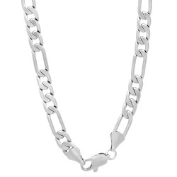 5.3mm Rhodium Plated Flat Figaro Chain Necklace