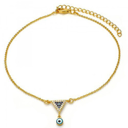 16mm Polished 0.25 mils (6 microns) 14k Yellow Gold Plated Clear Cubic Zirconia Cable Chain Anklet, 11 inches