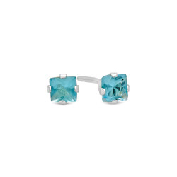 Princess Cut Simulated Aquamarine CZ Sterling Silver Stud Earrings Made in Italy + Bonus Polishing Cloth