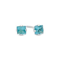 Princess Cut Simulated Aquamarine CZ Sterling Silver Stud Earrings Made in Italy + Bonus Polishing Cloth