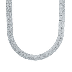 7.5mm Rhodium Plated Flat Nugget Chain Necklace