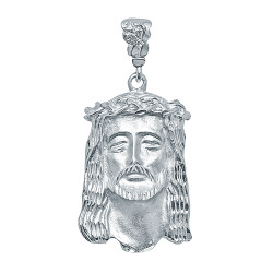Large 27mm x 49mm Rhodium Plated Crown Of Thorns Jesus Face Pendant + Microfiber