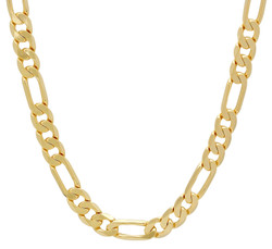 6mm 14k Yellow Gold Plated Flat Figaro Chain Necklace