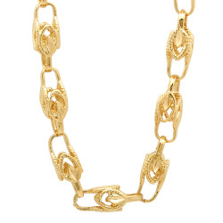 9mm 14k Yellow Gold Plated Hollow Link Chain Necklace