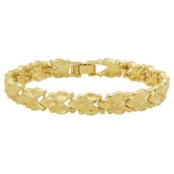 8.5mm Gold Plated Clover Style Link Bracelet + Microfiber
