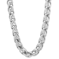 7.5mm Rhodium Plated Braided Wheat Chain Necklace