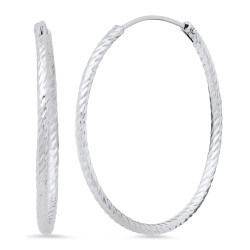 Women's Rhodium Plated .925 Sterling Silver Hoop Earrings + Jewelry Cloth & Pouch