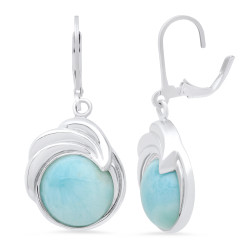High-Polished .925 Sterling Silver (Nickel Free) Larimar + Jewelry Cloth & Pouch
