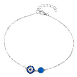 6.9mm Polished Rhodium Plated Silver Blue Cubic Zirconia Cable Evil Eye Charm Bracelet, 7 inches