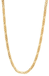 4.1mm 14k Yellow Gold Plated Flat Figaro Chain Necklace