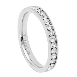 2mm High-Polished Titanium high-polished Silver Cubic Zirconia Band Ring, Size 4,5,6,7,8 (US)