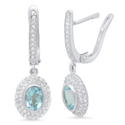 Women's .925 Sterling Silver Nickel Free Cubic Zirconia Drop Earrings + Jewelry Cloth