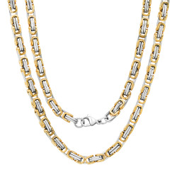 Men's 5.5mm Polished 14k Yellow Gold Plated Stainless Steel Flat Byzantine Chain Necklace