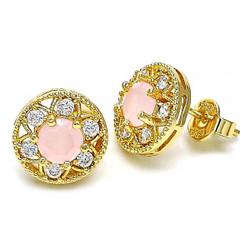 11.5mm 0.25 mils (6 microns) 14k Yellow Gold Plated Pink Tourmaline Opal Stud Earrings, 11.5mm + Jewelry Cloth & Pouch