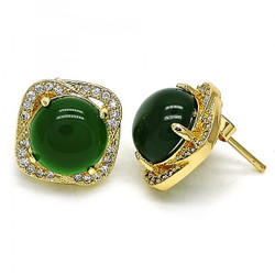 12.5mm 0.25 mils 14k Yellow Gold Plated Emerald Green Opal Square Stud Earrings, 12.5mm + Jewelry Cloth & Pouch