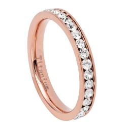 2mm Rose Gold Titanium Cubic Zirconia Band Ring, Size 4,5,6,7,8 (US)