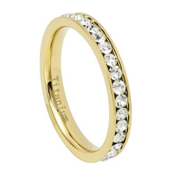 3mm Polished Gold Titanium Cubic Zirconia Band Ring, Size + Jewelry Cloth & Pouch