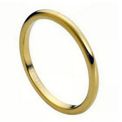 2mm Tungsten Carbide Gold Round Domed Thin Wedding Band Ring Comfort Fit + Jewelry Cloth & Pouch