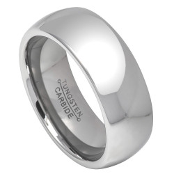 8mm High-Polished Tungsten Silver Domed Band Ring, Size 5,6,7,8,9,10,11,12,13,14,15 (US)