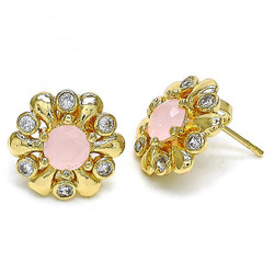 17.3mm 0.25 mils 14k Yellow Gold Plated Pink Tourmaline Opal Flower Stud Earrings, 17.3mm + Jewelry Cloth & Pouch
