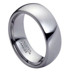 High-Polished Tungsten Silver Band Ring + Jewelry Cloth & Pouch