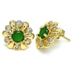 16.3mm 14k Yellow Gold Plated Emerald Green Opal Flower Stud Earrings, 16.3mm