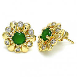 16.3mm 0.25 mils 14k Yellow Gold Plated Emerald Green Opal Flower Stud Earrings, 16.3mm + Jewelry Cloth & Pouch