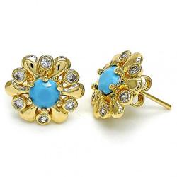 15.3mm 14k Yellow Gold Plated Blue Opal Flower Stud Earrings, 15.3mm