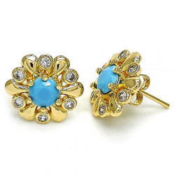 15.3mm 0.25 mils (6 microns) 14k Yellow Gold Plated Blue Opal Flower Stud Earrings, 15.3mm + Jewelry Cloth & Pouch