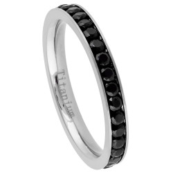 2.2mm High-Polished Titanium high-polished Silver Cubic Zirconia Band Ring, Size 4,5,6,7,8 (US)