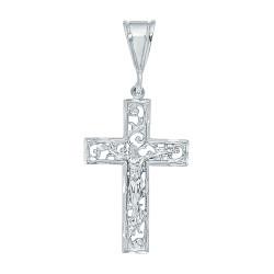 Large 36mm x 5.5 cm Rhodium Plated Open Filigree Vine Crucifix Pendant + Microfiber
