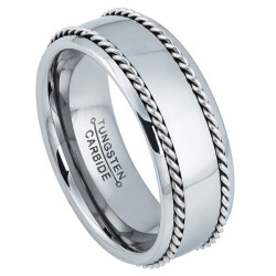 8mm High-Polished Tungsten Silver Domed Band Ring, Size 7,8,9,10,11,12,13,14,15 (US)
