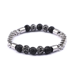 Men's 6mm High-Polished Stainless Steel Black Lava-Rock Square Franco Chain Bracelet, 10 inches
