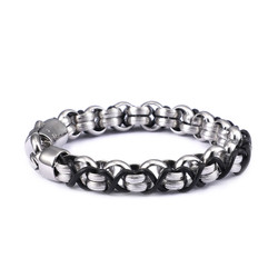 Men's 11mm High-Polished Stainless Steel Round Rolo Chain Bracelet