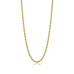 5.9mm 24k Yellow Gold Plated Stainless Steel Twisted Rope Chain Necklace