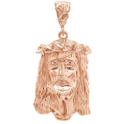Rose Gold Plated Jesus Piece Pendant, 49mm x 27mm (⅞ inches' x ')