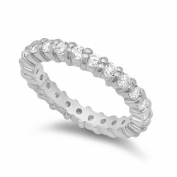 3.5mm Rhodium Plated Sterling Silver Shared Prongs CZs Eternity Band + Microfiber