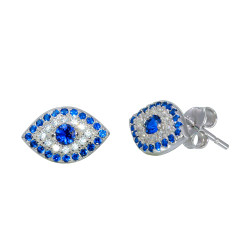 10.5mm Polished Rhodium Plated Silver Blue Cubic Zirconia Stud Earrings, 10.5mm