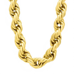 14mm 14k Yellow Gold Plated Twisted Rope Chain Necklace