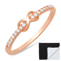 Sterling Silver Rose Gold Plated Infinity Knot Cubic Zirconia Promise Ring + Bonus Cleaning Cloth