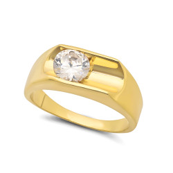 Large 17mm 14k Gold Plated Deep Bezel Set Round CZ Solitaire Ring + Microfiber