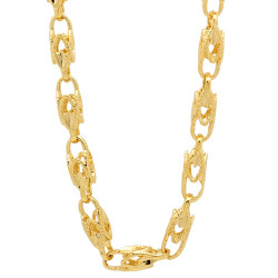 6mm 14k Yellow Gold Plated Hollow Chain Necklace