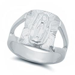Classic Rhodium Plated Medium Virgin Mary Portrait Relief Ring + Microfiber