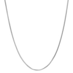 1.1mm Polished Rhodium Plated Silver Square Box Chain Necklace