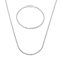 2.2mm .925 Sterling Silver Diamond-Cut Twisted Rope Chain Necklace + Bracelet Set